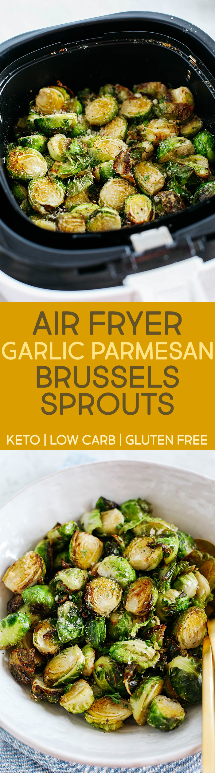 Crispy Garlic Parmesan Brussels Sprouts easily cooked in your air fryer in just 15 minutes for a delicious healthy snack or side dish!