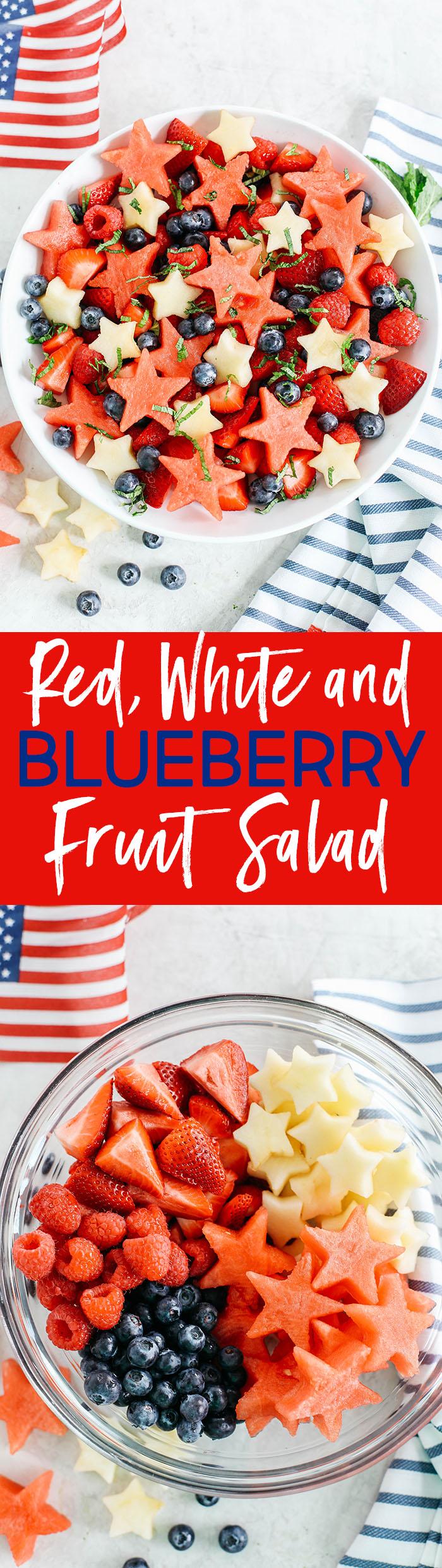 Comece no dia 4 de julho com esta festiva salada de frutas vermelhas, brancas e mirtilos, embalada com melancia, maçãs crocantes e deliciosas frutas, todas juntas em um molho cítrico com mel!