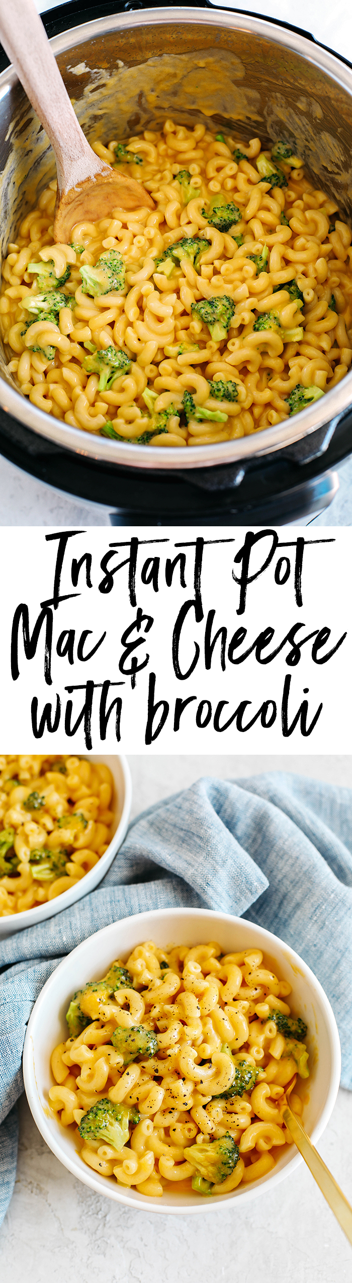 Creamy and delicious Instant Pot Mac & Cheese with Broccoli easily made in under 10 minutes for the perfect comfort food meal your whole family will love!