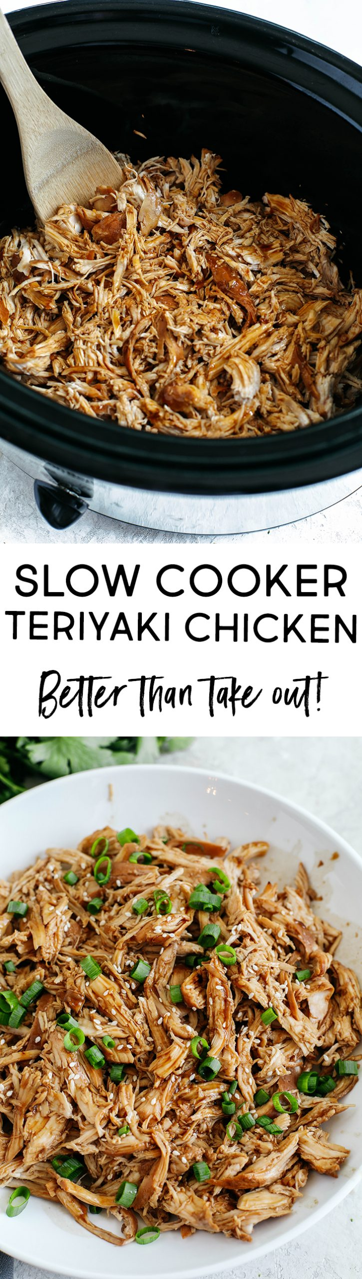 The EASIEST Crock Pot Teriyaki Chicken made with the most delicious sticky, sweet homemade sauce and served over rice or quinoa!  Better than take-out!