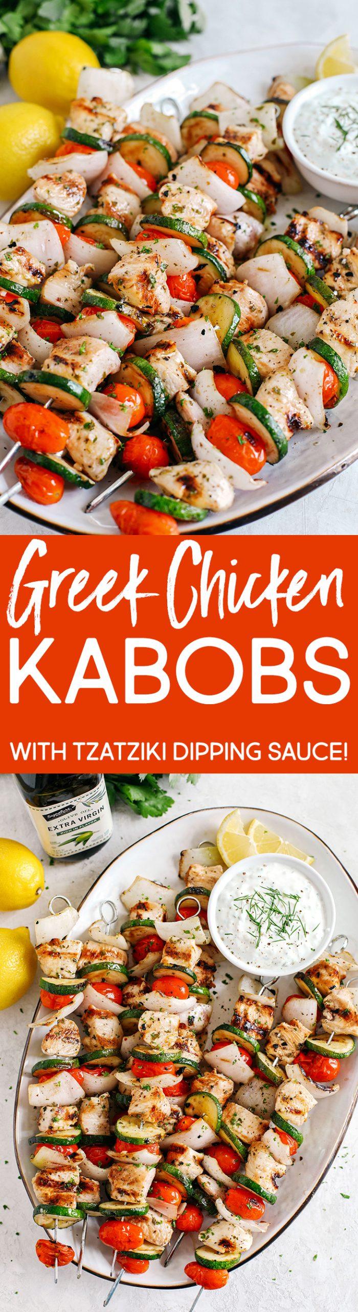 Espetinhos de frango gregos super saborosos marinados em suco de limão picante, alho e ervas frescas e servidos com molho tzatziki caseiro!
