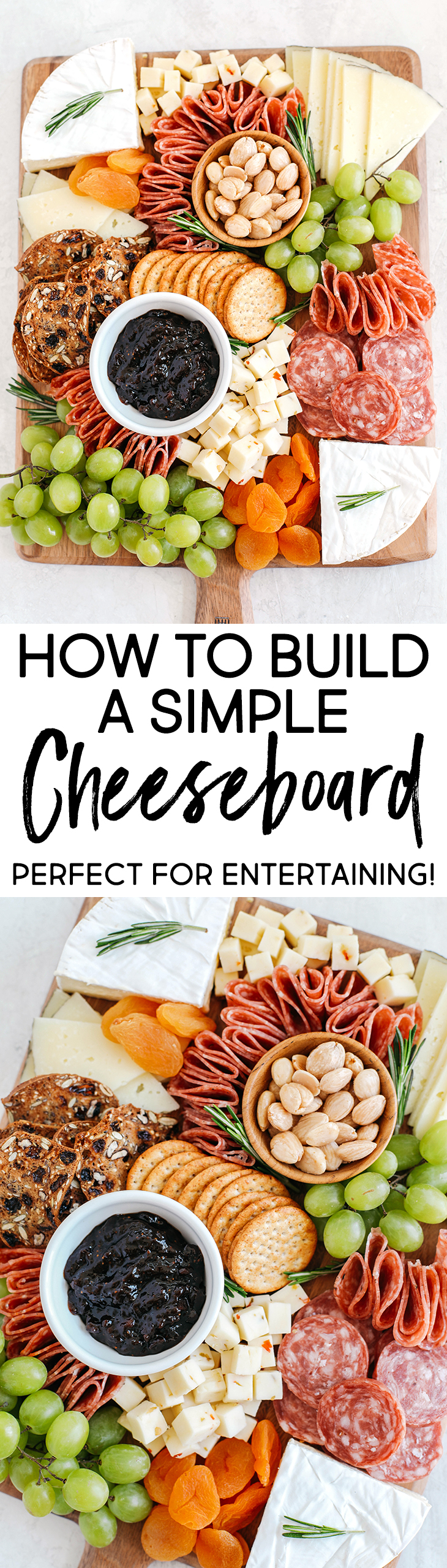 My favorite tips and tricks for building the perfect cheeseboard with all your favorite charcuterie that is simple, beautiful and made in just minutes!  Perfect for everyday entertaining!