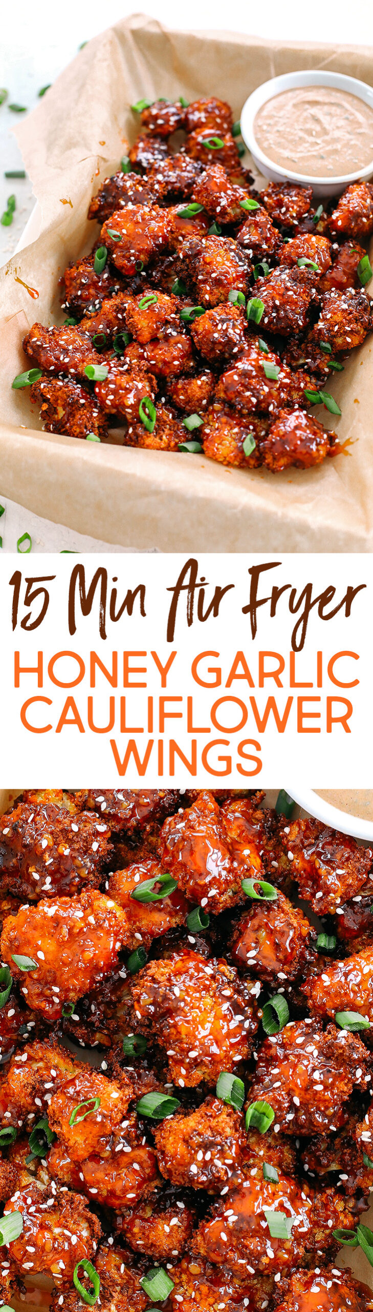 These Sticky Honey Garlic Cauliflower Wings are sweet, spicy and perfect for game day!  Easily made in the air fryer and served with the most delicious spicy ranch dipping sauce!