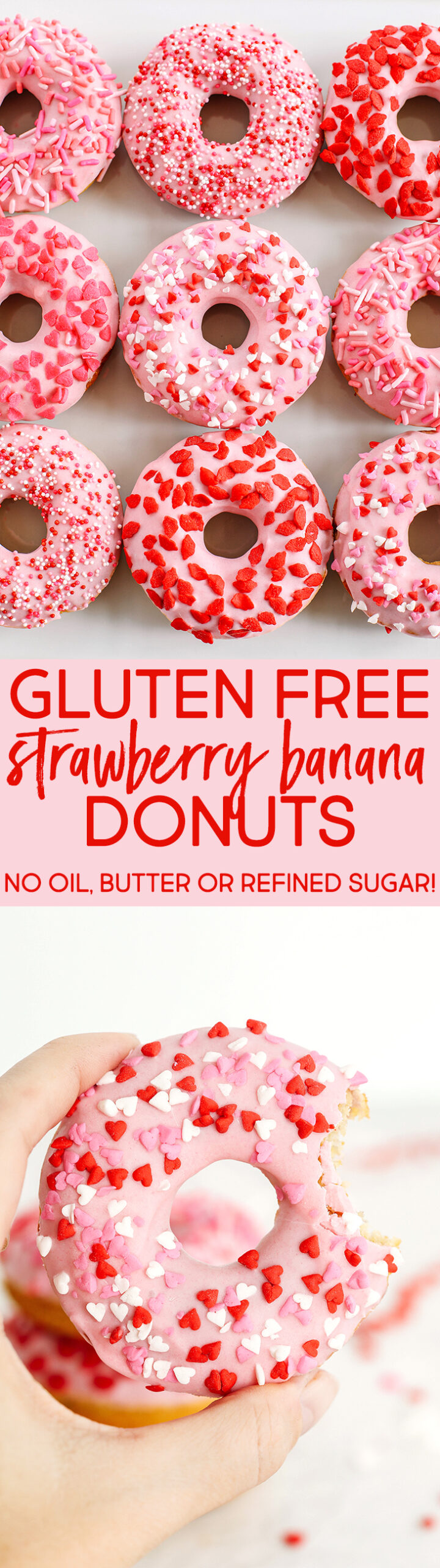 Delicious Gluten-Free Strawberry Banana Donuts that are soft, lightly sweetened with honey and baked, not fried, with zero oil or butter for the perfect Valentine's Day treat!