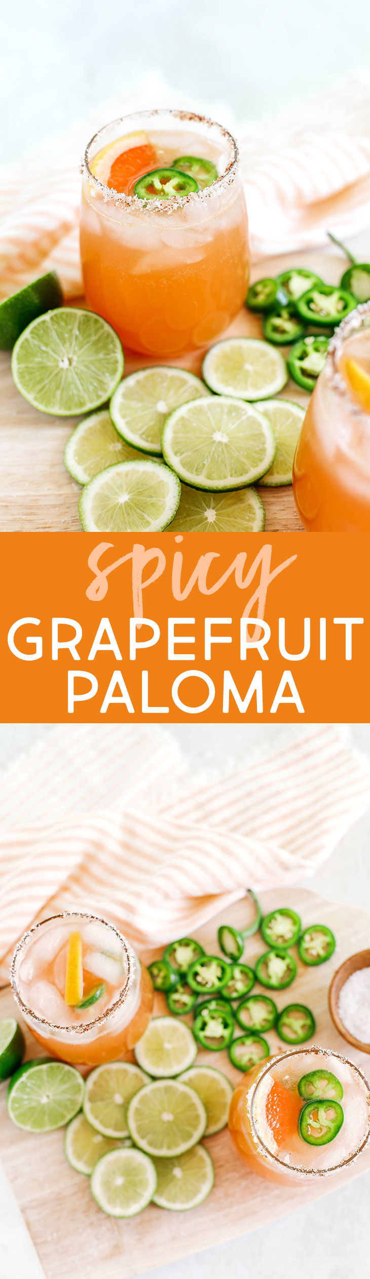 This Spicy Grapefruit Paloma is the perfect summer cocktail made with fresh limes and grapefruit, your favorite tequila, sparkling water, and my sweet and spicy jalapeño honey syrup!