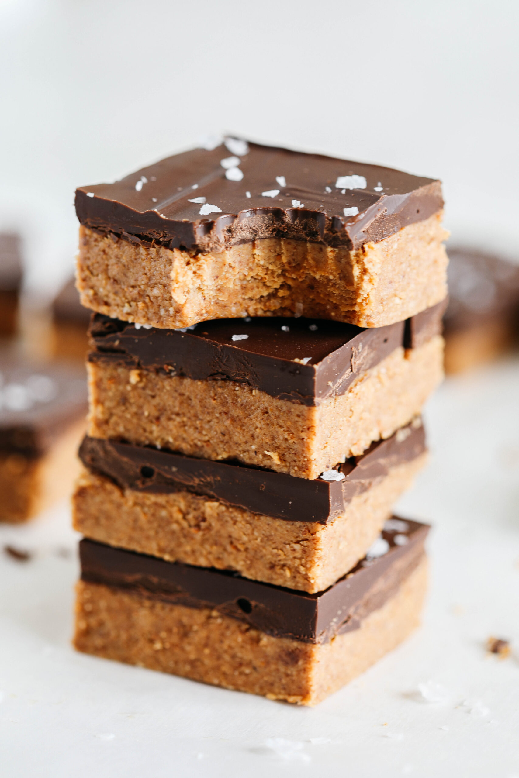 These Dark Chocolate Almond Butter Bars are rich, fudgy and make the perfect sweet treat with just a few simple ingredients and zero baking required!