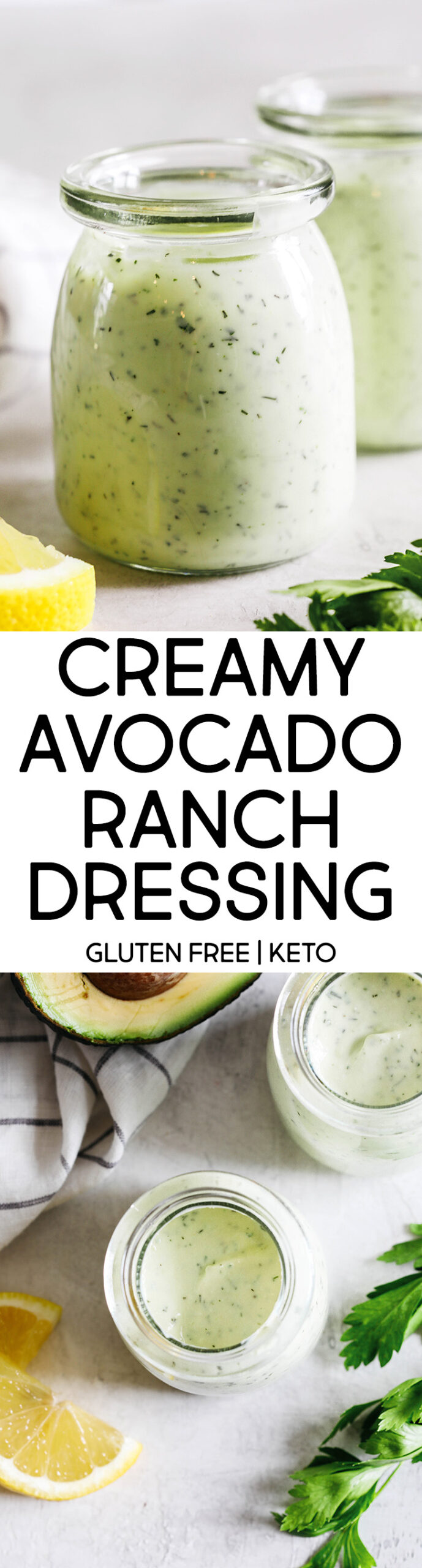 Creamy Avocado Ranch Dressing made healthier with Greek yogurt easily made in just 5 minutes with so much delicious flavor!  Perfect for salads, dips for veggies, and more!