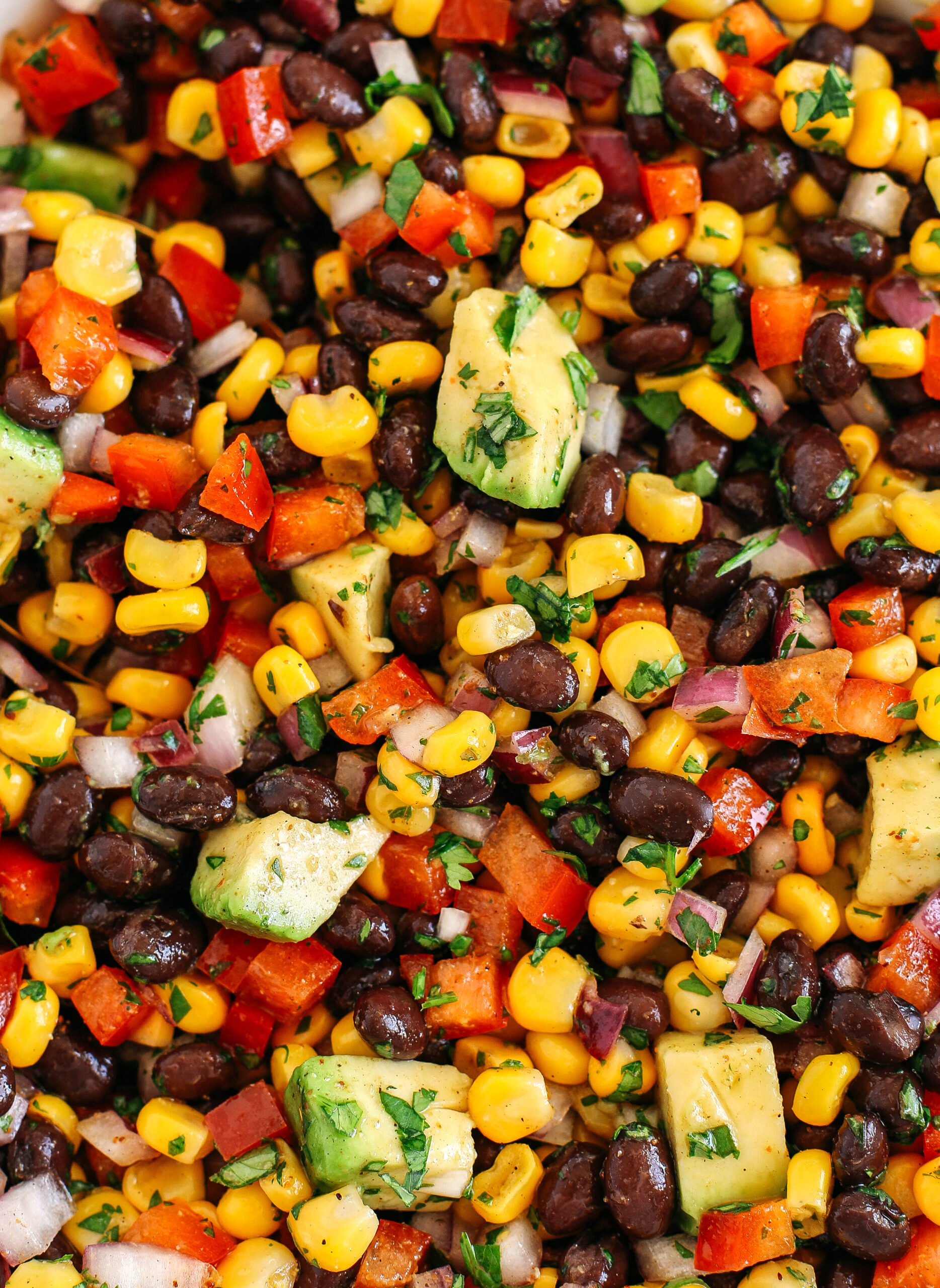 This Black Bean and Corn Salad is loaded with crisp veggies, delicious spices and fresh cilantro, all tossed together in a zesty lime dressing making it the perfect summer side dish or dip!
