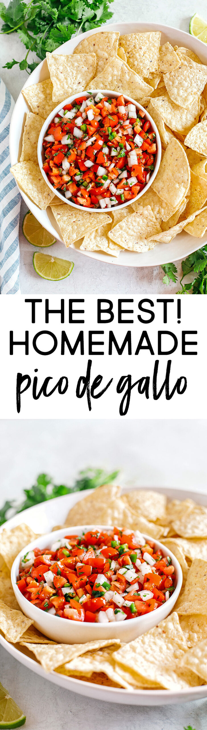 Fresh Homemade Pico De Gallo made with just a few simple ingredients for the perfect flavor boost to any healthy meal or serve as a delicious salsa with chips!