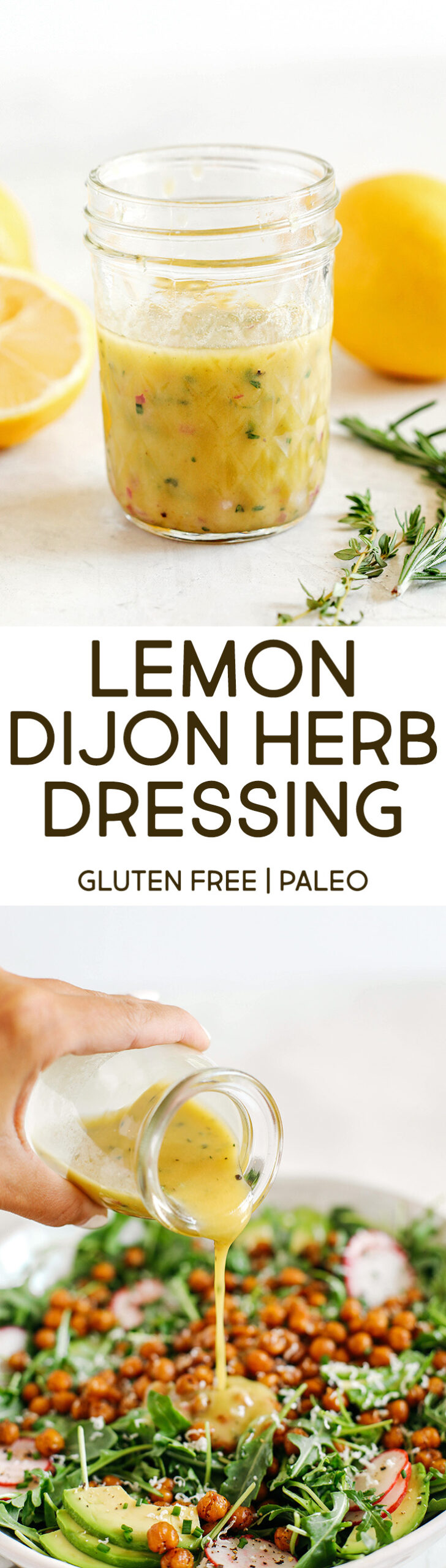 Bright and fresh Lemon Dijon Herb Dressing made in just minutes with a few simple pantry ingredients!  Perfect for salads, veggies, marinades, and more!