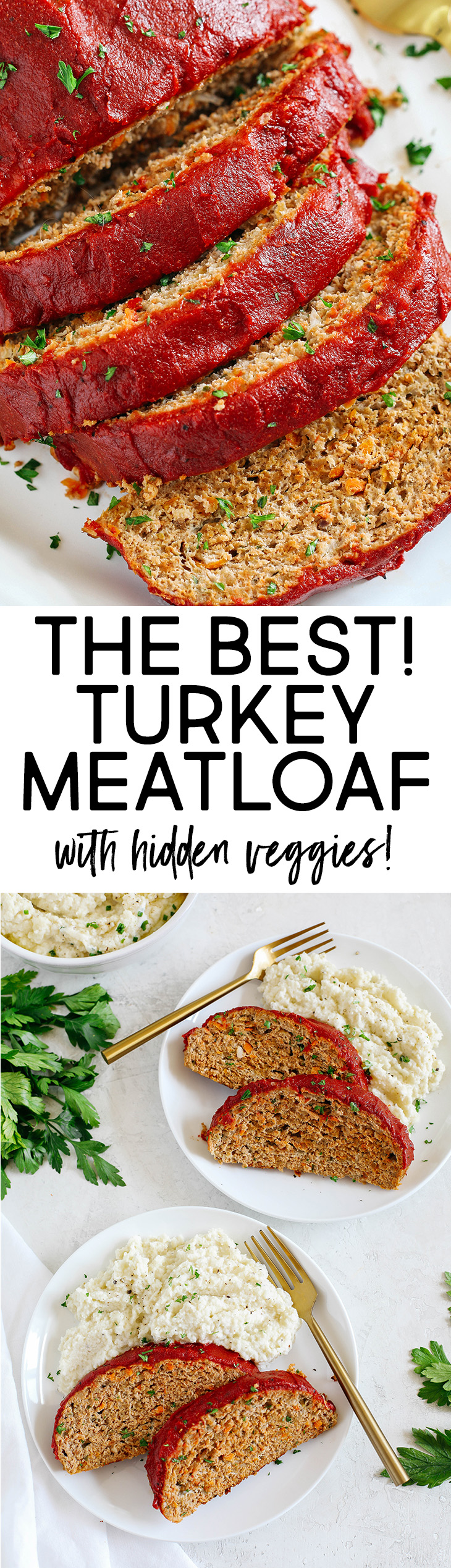 The BEST Healthy Turkey Meatloaf that is moist, super flavorful, and packed with hidden veggies all topped with a delicious tomato glaze!