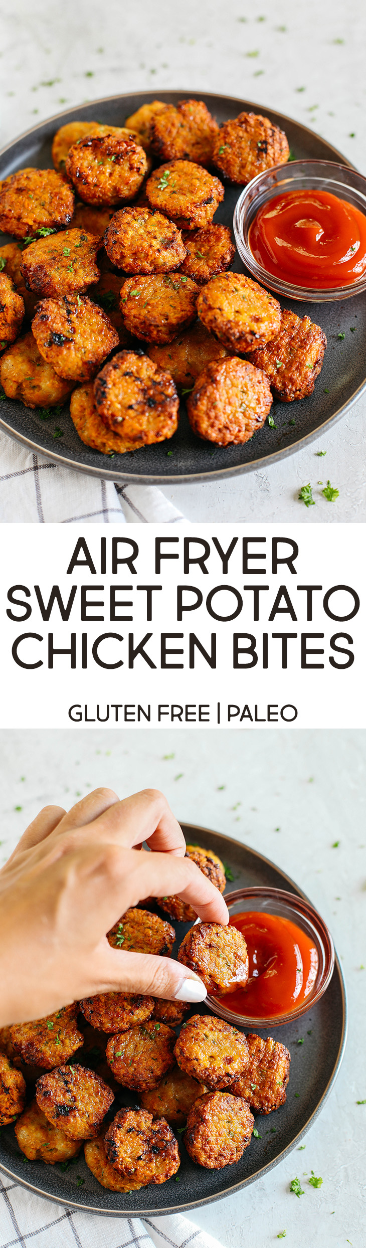 These bite-sized Sweet Potato Chicken Bites are flavorful, delicious and made right in the air fryer for a perfectly crispy (and healthy!) alternative to chicken nuggets!