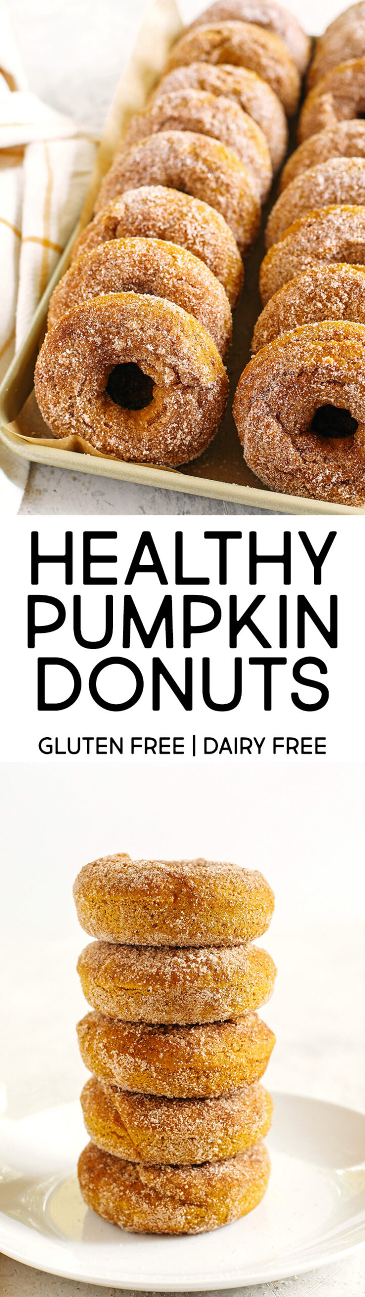 Delicious Gluten-Free Pumpkin Spice Donuts that are soft, lightly sweetened with maple syrup and baked, not fried, for the perfect fall treat! Loaded with warm spices and coated with cinnamon and sugar!