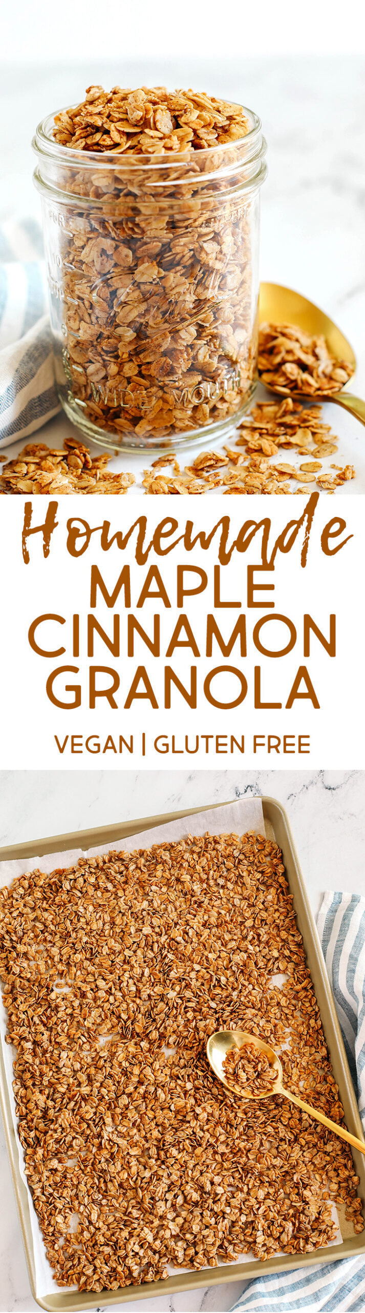 Easy Maple Cinnamon Granola made with just a few simple ingredients and naturally sweetened for the perfect healthy snack or breakfast topping!